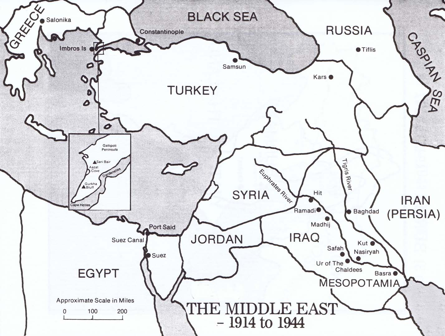 Map Middle East 1914 - 1944