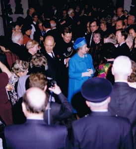 Her Majesty, accompanied by the Association Chairman, Brigadier Gil Hickey, and the Colonel of the Regiment, Major General RA Pett, talking to Members at the 175th Anniversary reception in the Tower of London, 1992