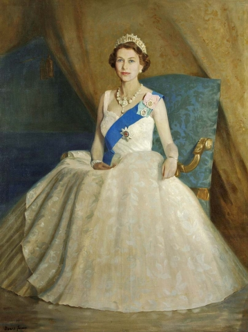 Her Majesty Queen Elizabeth II painted by Denis Fildes in 1962. It was commissioned by the officers of the 1st Battalion in February 1960.
